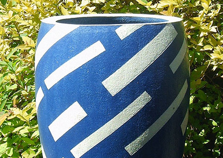 Tall blue/white with diagonal stripes | Judith Hobbs